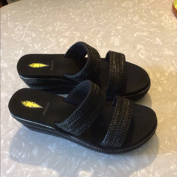 Volatile women's black wedge sandals size 8.